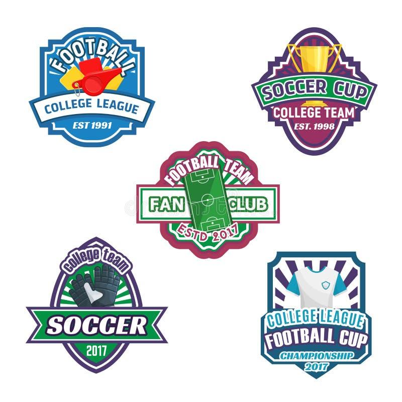 Piłki nożnej filiżanki i futbolu sporta klubu odznaki set ilustracji