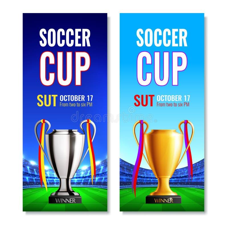 Piłki nożnej filiżanki Vertical sztandary ilustracji