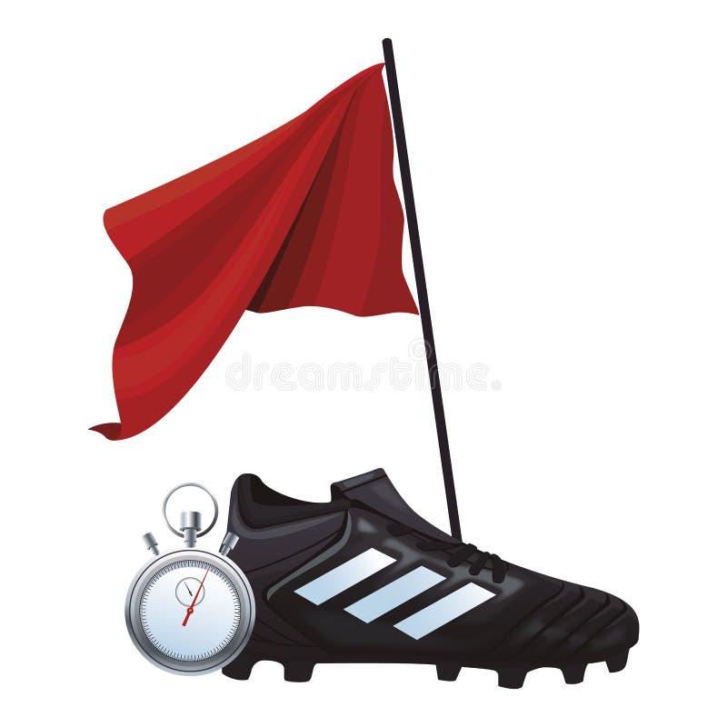 Piłki nożnej flaga i buty ilustracja wektor