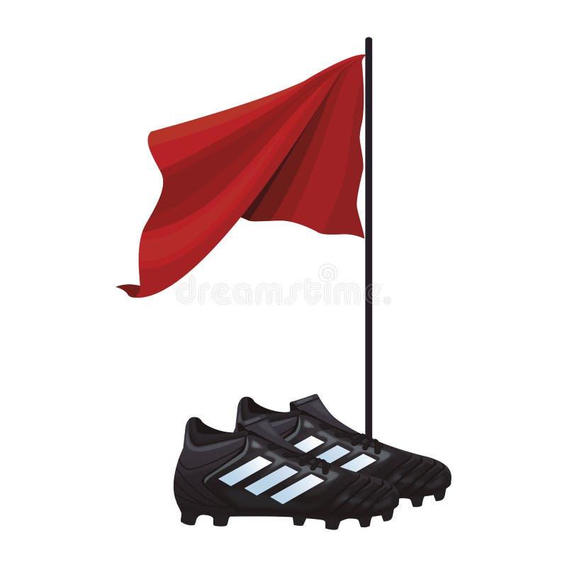Piłki nożnej flaga i buty royalty ilustracja