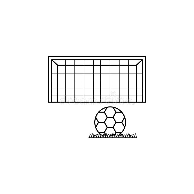 piłki nożnej piłki i bramy ikona Element piłka nożna puchar świata 2018 dla mobilnych pojęcia i sieci apps Cienka kreskowa piłki  ilustracja wektor