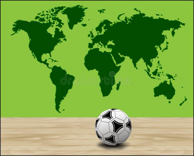 Piłki nożnej piłki ilustracja z zieloną światową mapą royalty ilustracja