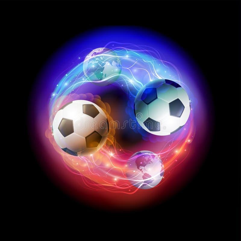 Piłki nożnej piłki komety i światowe kule ziemskie na czerni interliniują tło ilustracji