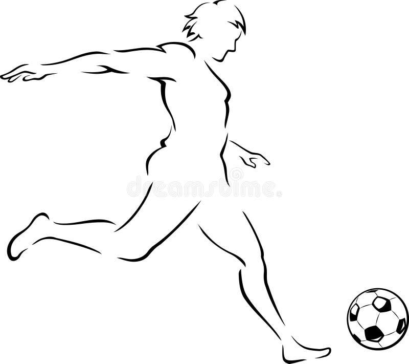 Download Piłki Nożnej Kopnięcia Kreskowa Sztuka Ilustracji - Ilustracja złożonej z atleta, kontur: 41954264