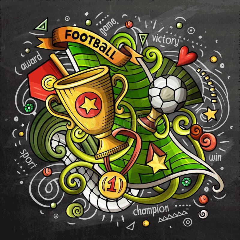 Piłki nożnej kreskówki doodle wektorowa ilustracja Chalkboard projekt royalty ilustracja