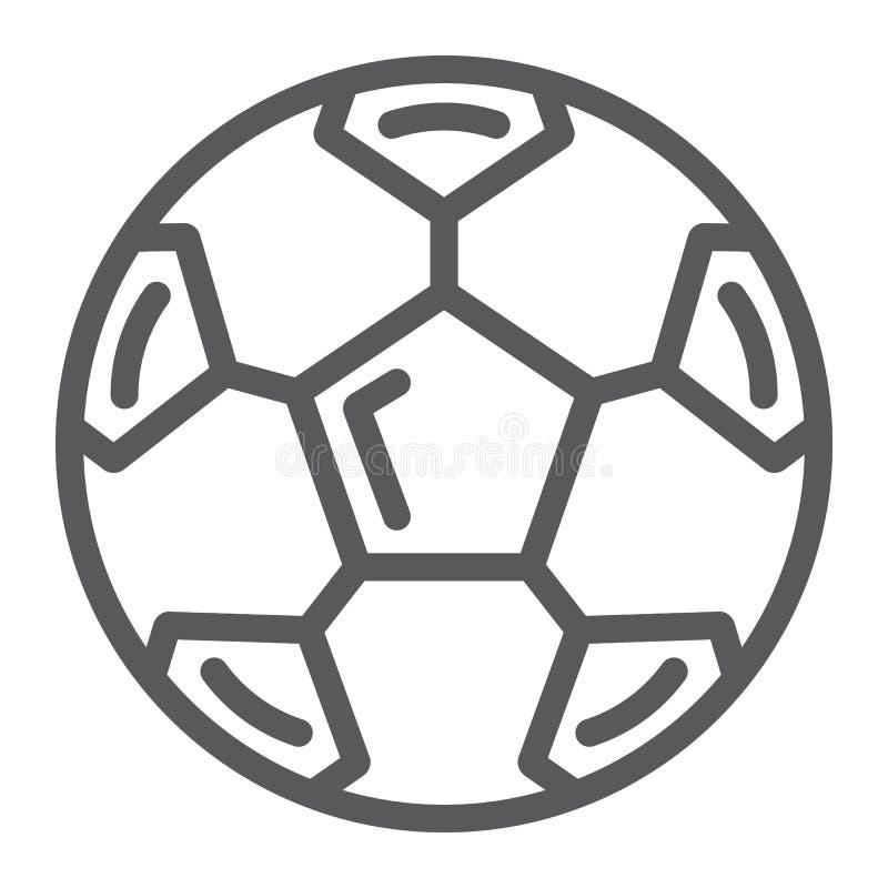 Piłki nożnej piłki linii ikona, sport i wyposażenie, futbolowy piłka znak, wektorowe grafika, liniowy wzór na białym tle ilustracji