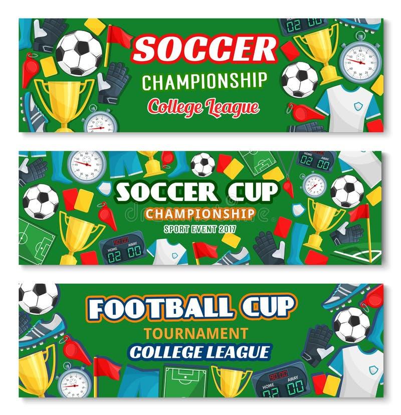 Piłki nożnej lub futbolowego sporta mistrzostwa gemowy sztandar royalty ilustracja