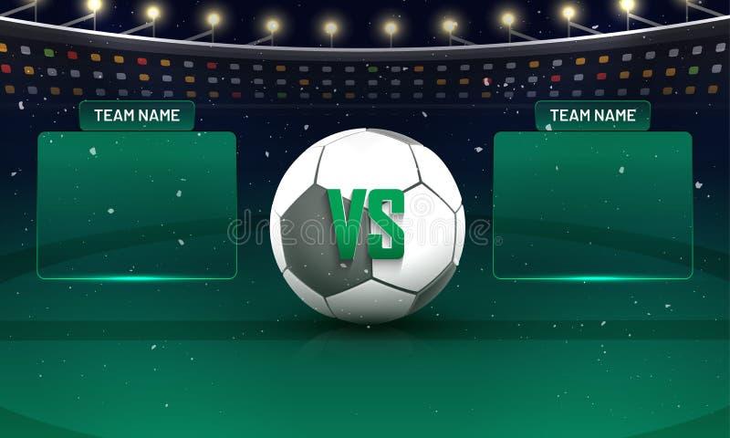 Piłki nożnej mistrzostwa liga, dopasowania pośrodku drużyna v/s drużyny b conc ilustracji