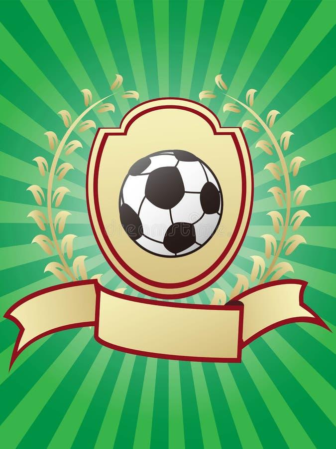 Piłki nożnej mistrzostwa projekta błyszczącej złocistej osłony laurowy tasiemkowy banne royalty ilustracja