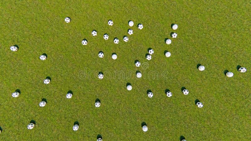 Piłki nożnej piłki odgórnego widoku piłki nożnej piłki wschód słońca zdjęcia royalty free