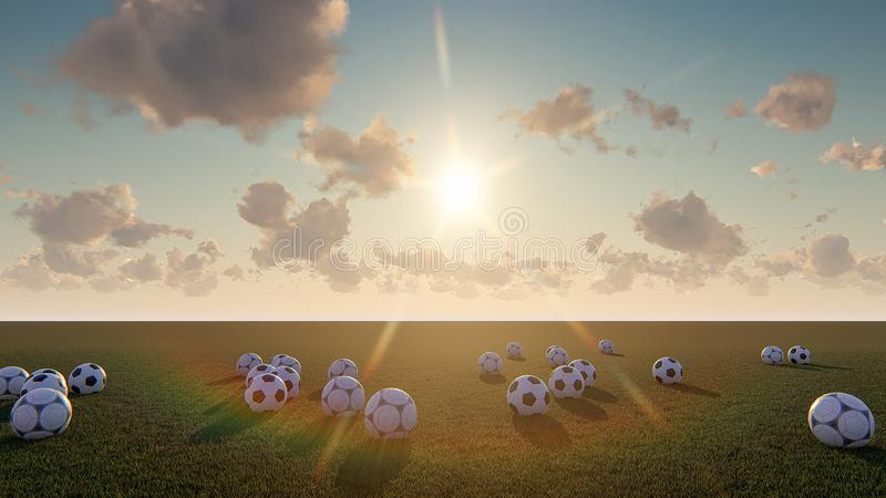 Piłki nożnej piłki odgórnego widoku piłki nożnej piłki wschód słońca obrazy stock