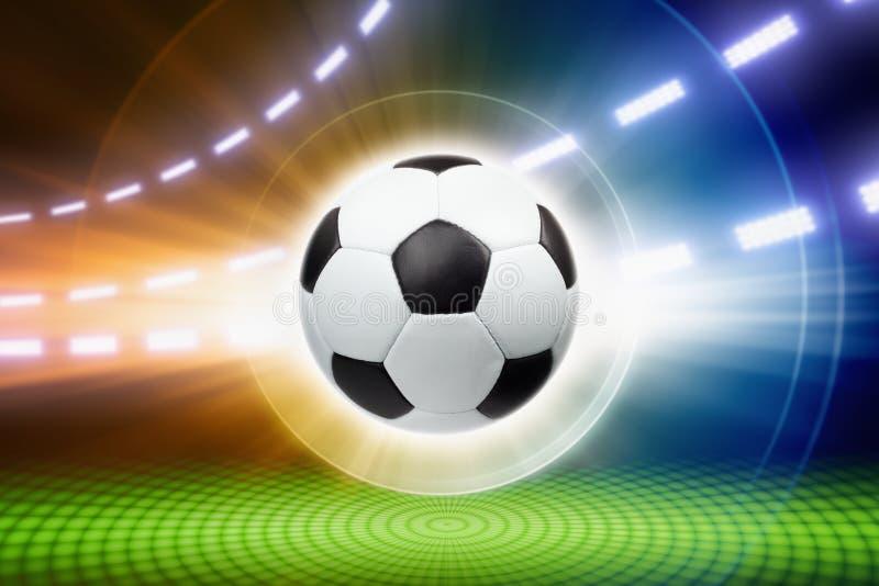 Piłki nożnej piłka, światła reflektorów ilustracja wektor