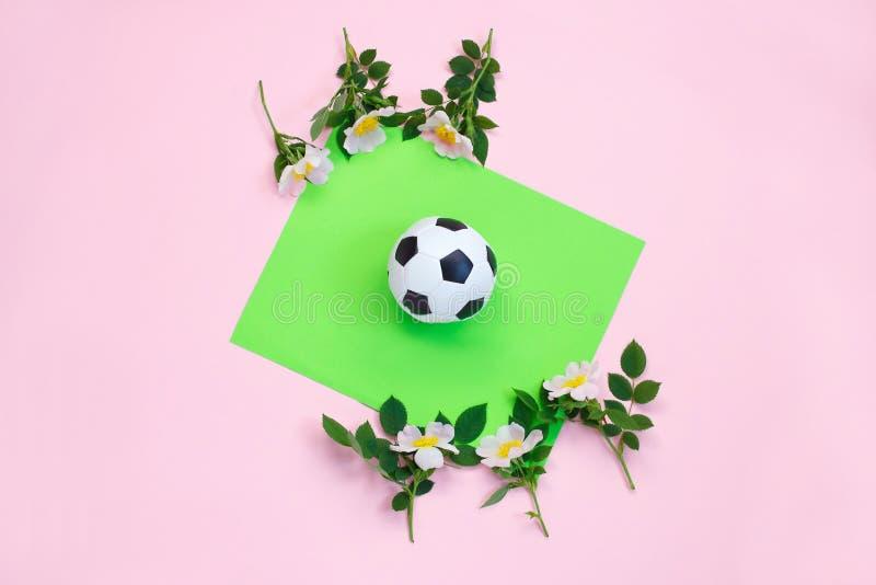 Piłki nożnej piłka, biały i czarny, i kwiaty na podwójnym koloru tle pi?kna b??kitny jaskrawy poj?cia twarzy mody makeup kobieta  fotografia royalty free