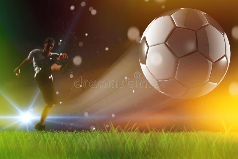 Piłki nożnej piłka, gracz kopie daleko, mistrzowie ligowi royalty ilustracja