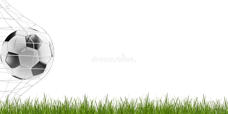 Piłki nożnej piłka i ostrza trawa 3d-illustration ilustracji