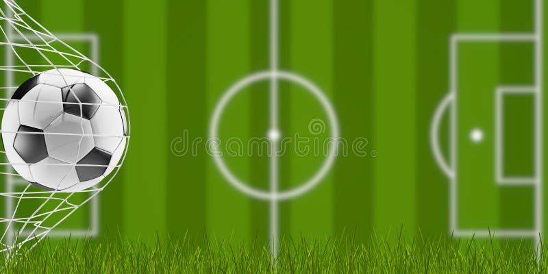 Piłki nożnej piłka i ostrza trawa z zamazanym boiskiem do piłki nożnej 3d-illustration ilustracja wektor
