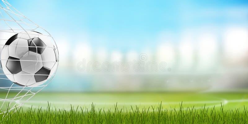 Piłki nożnej piłka i ostrza trawa z zamazanym stadium piłkarski 3d-illustration royalty ilustracja