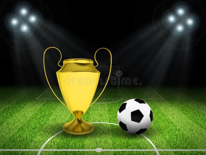 Piłki nożnej piłka i złoto filiżanka po środku pola ilustracji