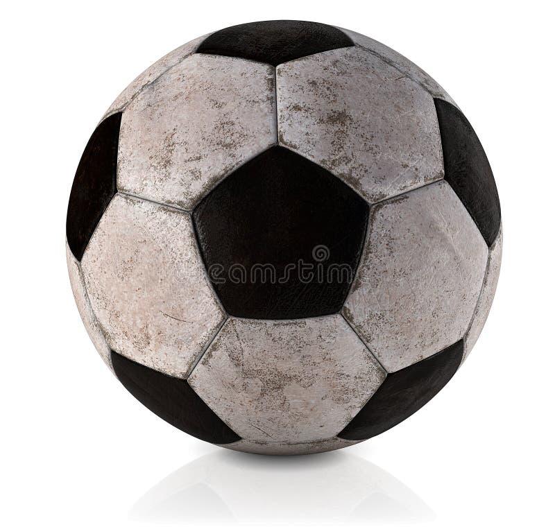 Piłki nożnej piłka, klasyk, brudny i używać, Używamy i brudzimy klasyczną piłki nożnej piłkę w białym tła 3D illustrat - Klasyczn zdjęcie royalty free