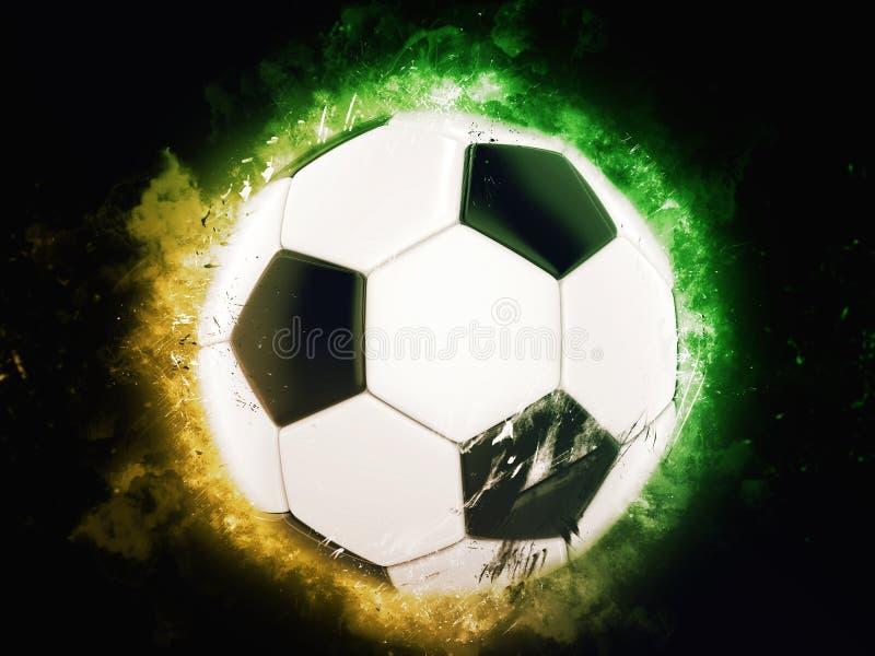 Piłki nożnej piłka - koloru żółtego i zieleni tło royalty ilustracja
