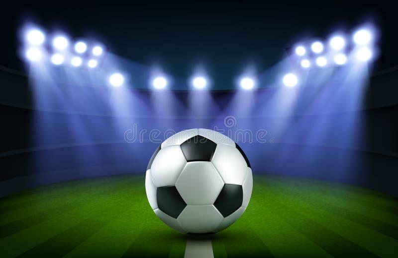 Piłki nożnej piłka na stadium, futbolowy arena sztandar ilustracja wektor