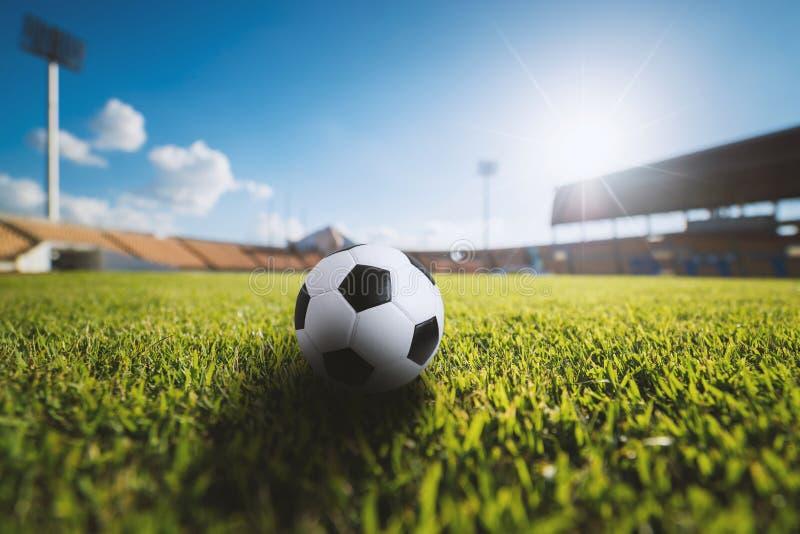 Piłki nożnej piłka na trawie w stadium piłkarski fotografia stock