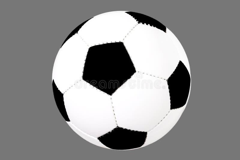 Piłki nożnej piłka odizolowywająca, ciie out swobodnie, czarny i biały klasyczna piłka, futbol na popielatym tle, obrazy royalty free