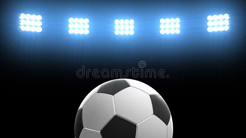 Piłki nożnej piłka przy futbolowym areny stadium z jaskrawymi światło reflektorów ilustracja 3 d royalty ilustracja
