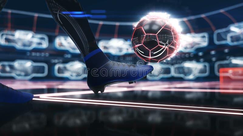 Piłki nożnej piłka unosi się w przestrzeni cel z neonową strzału skutka 3d ilustracją royalty ilustracja