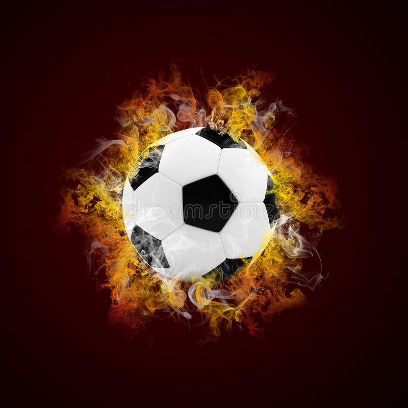 Piłki nożnej piłka w kolorze płomień i dym royalty ilustracja