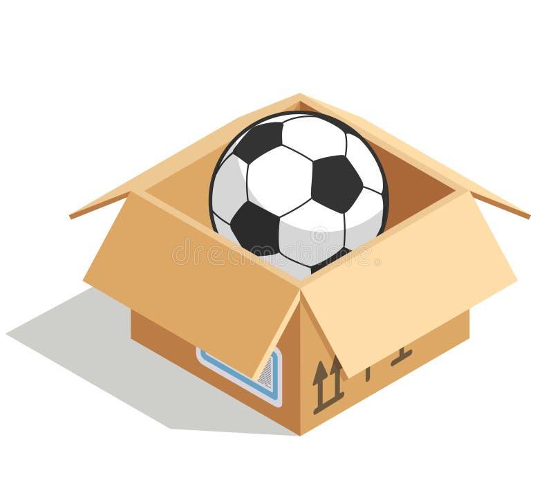 Piłki nożnej piłka w pudełku odizolowywającym nad bielem royalty ilustracja