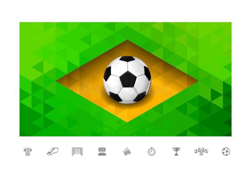 Piłki nożnej piłka z Brasil flaga w trójboka stylu ilustracji