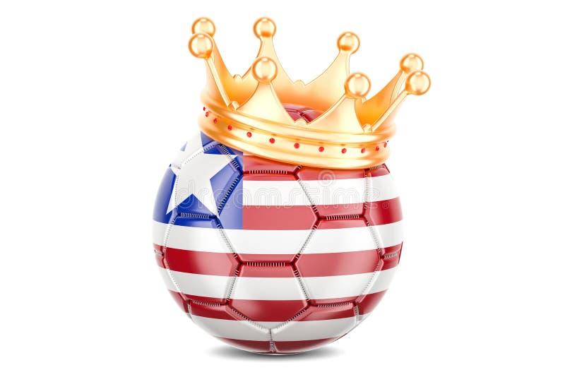 Piłki nożnej piłka z flaga Liberia i złota korona, 3D rendering ilustracji
