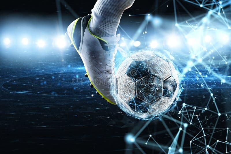 Piłki nożnej piłka z internet sieci skutkiem Pojęcie cyfrowy zakład obraz royalty free