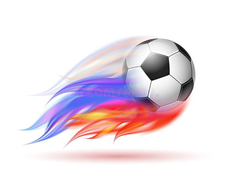 Piłki nożnej piłka z płomienia śladem rosjanin flaga ilustracja wektor