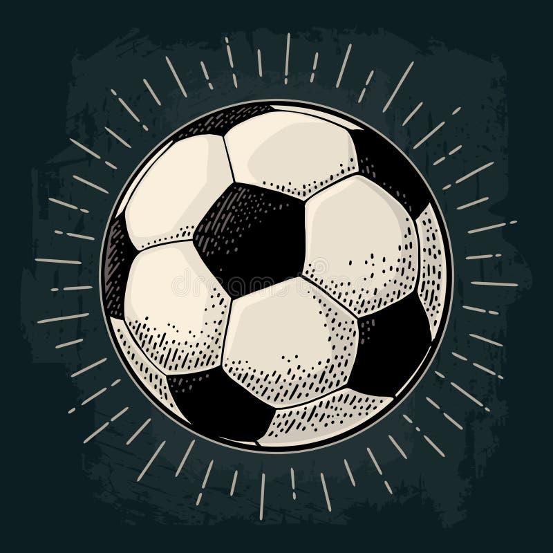 Piłki nożnej piłka z promieniem Rytownictwo rocznika wektorowa czarna ilustracja royalty ilustracja