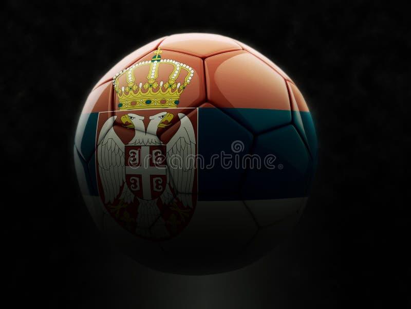 Piłki nożnej piłka z serb flaga - ciemny oświetlenie royalty ilustracja
