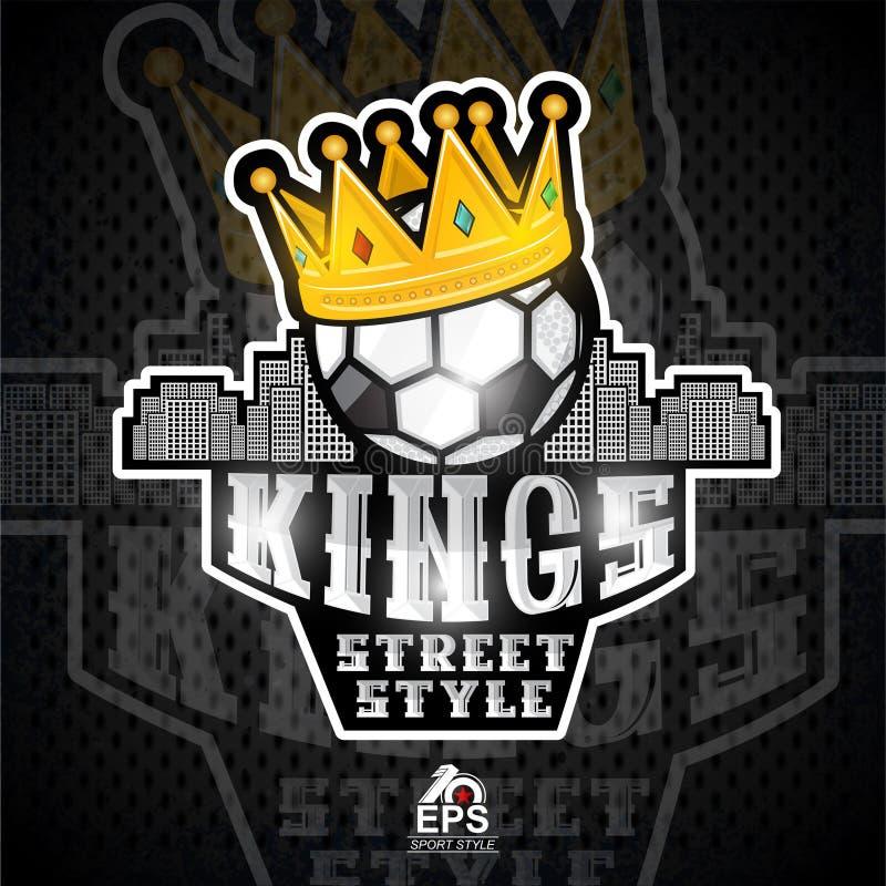 Piłki nożnej piłka z złotą koroną i miasto za Sporta logo dla jakaś drużyny futbolowej royalty ilustracja