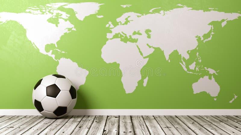 Piłki nożnej piłka z Zieloną Światową mapą ilustracji