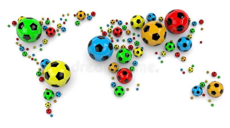Piłki nożnej piłki Światowa mapa ilustracji