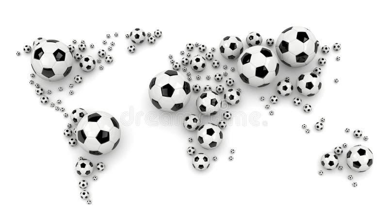 Piłki nożnej piłki Światowa mapa royalty ilustracja