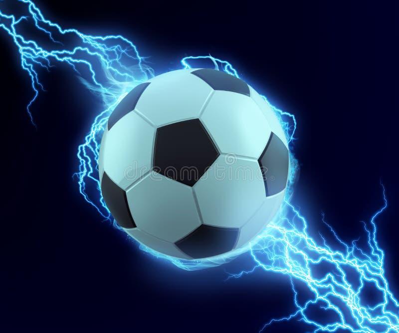 Piłki nożnej piłki iskra z błękitnym grzmotem ilustracji
