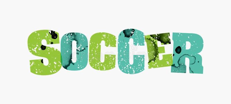 Piłki nożnej pojęcia słowa Kolorowa Stemplująca ilustracja ilustracja wektor