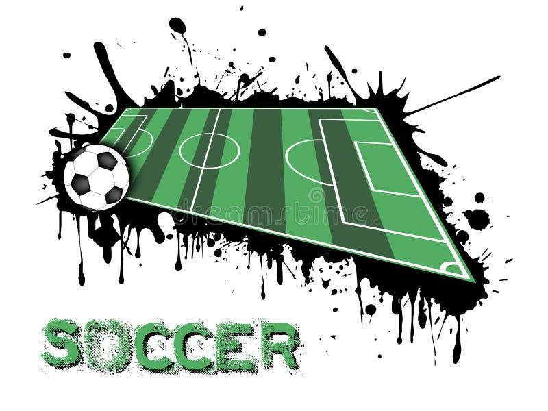 Piłki nożnej pole na tle kleksy farba i piłka royalty ilustracja