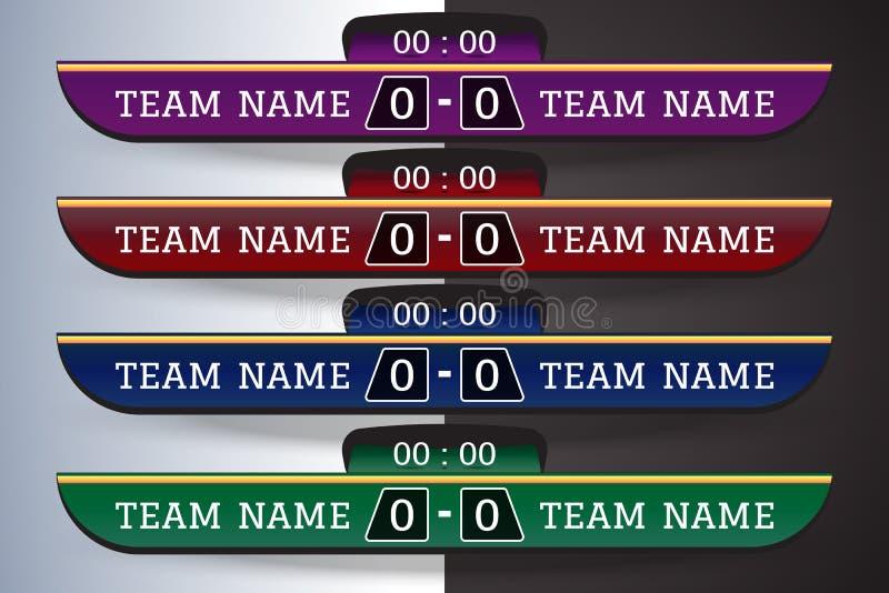 Piłki nożnej tablica wyników Digital ekranu Graficzny szablon dla Transmitować piłka nożna, futbolowy lub futsal Ilustracyjny wek zdjęcia royalty free