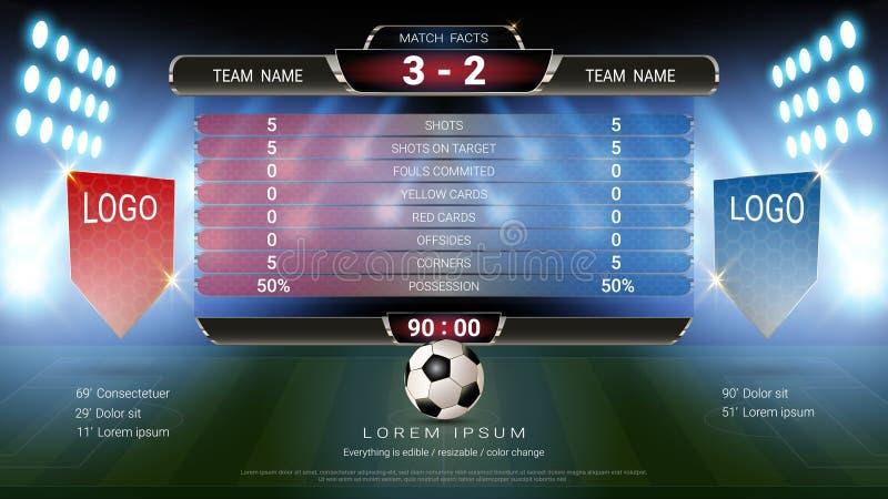 Piłki nożnej tablicy wyników futbolowa drużyna A vs drużynowy b, Globalny stats wyemitowany graficzny szablon z flaga, Dla twój p ilustracja wektor