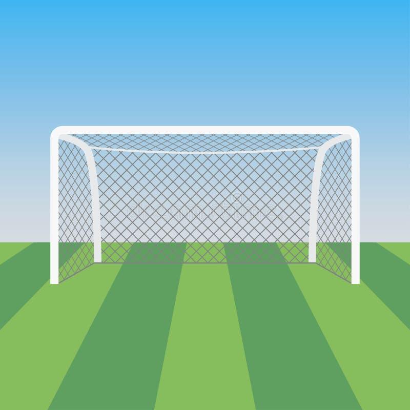 Piłki nożnej trawa w stadionie futbolowym i cel również zwrócić corel ilustracji wektora ilustracji