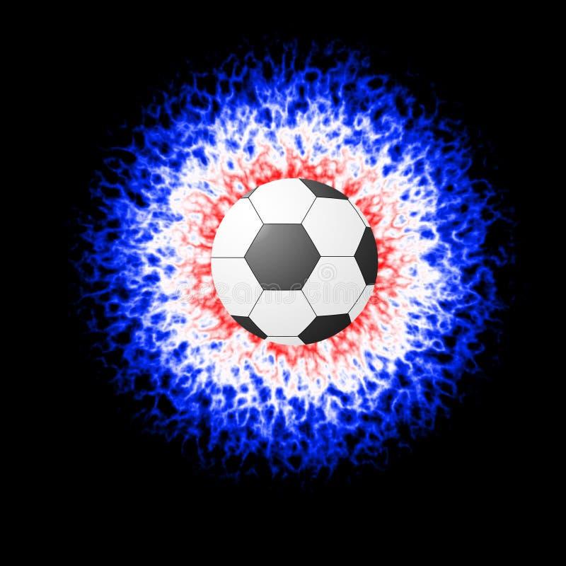 Piłki nożnej piłki zakończenie w koloru wybuchu Futbolowym wyposażeniu Odizolowywającym na czarnym tle Kreskówka styl ilustracja wektor
