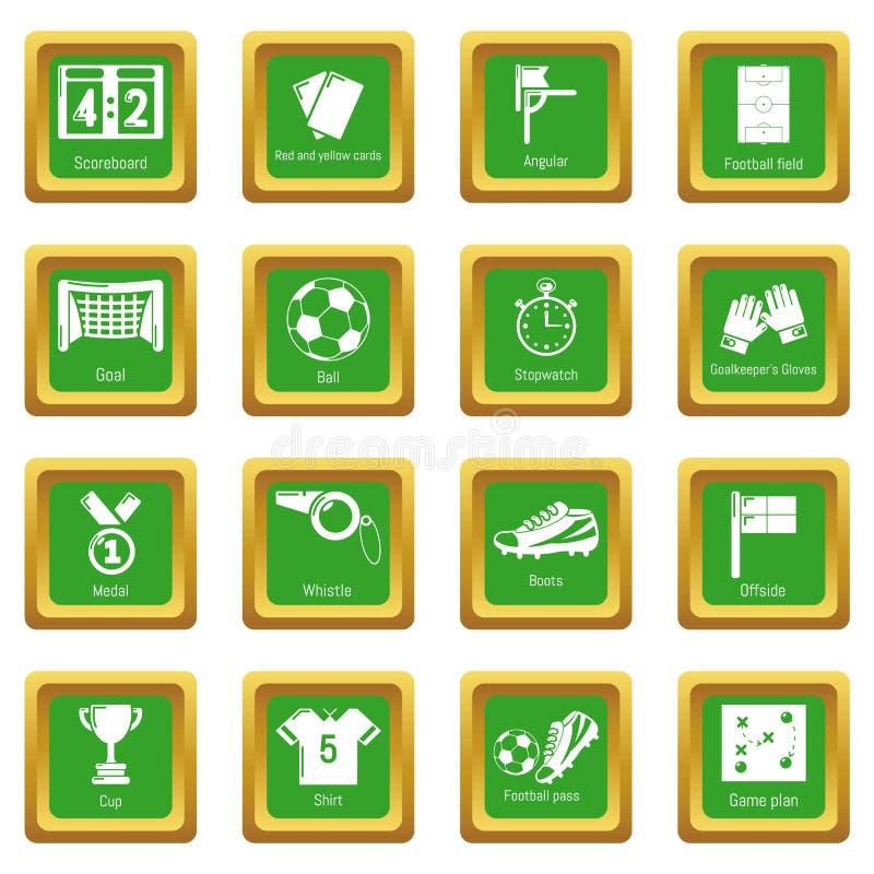 Piłki nożnej zieleni futbolowe ikony ustawiający kwadrat ilustracji