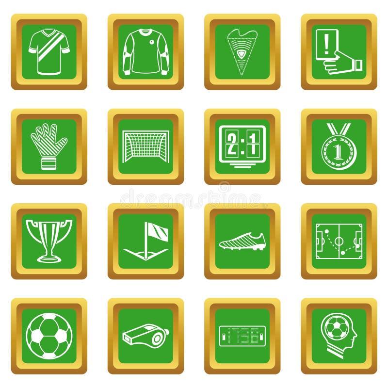 Piłki nożnej zieleni futbolowe ikony ustawiający kwadrat royalty ilustracja